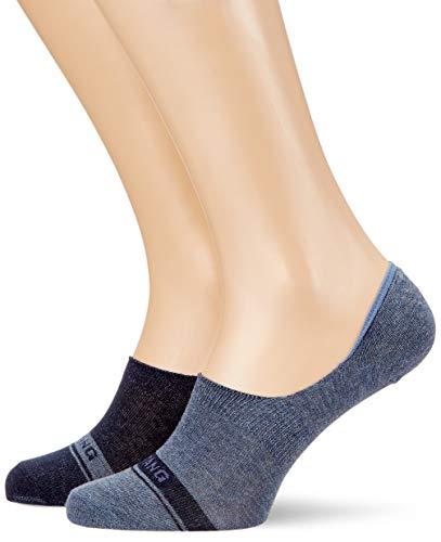 Mustang Socks Herren MU34005 Füßlinge, Blau (Jeans Mix 5703), 39/42 (2er Pack)