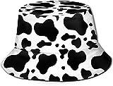 Trushop Unisex Negro Blanco Leche Manchas de Vaca Algodón Empacables Pesca Caza Sombreros para el Sol Viaje Sarga Bucket Cap Sombrero
