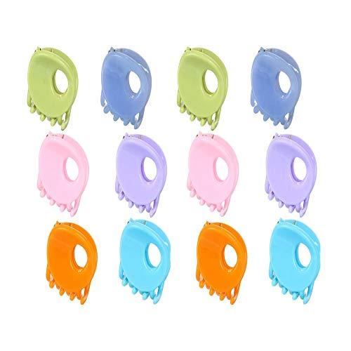 Lot de 12 pinces à cheveux mini multicolores en plastique de forme ronde pour cheveux mâchoire Convient pour les filles de la vie quotidienne