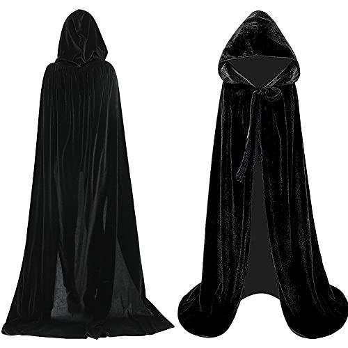 BESTZY Capa De Vampiro Capa con Capucha Negro Capa para Fiesta De Halloween para Nios o Adultos