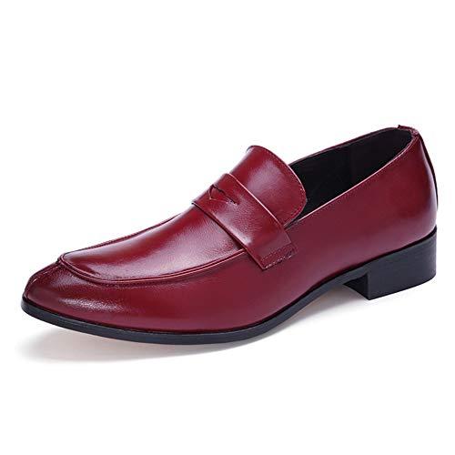 GERUIQI - Zapatos de cordones de Papel para hombre Rojo rojo vino 7.5 UK