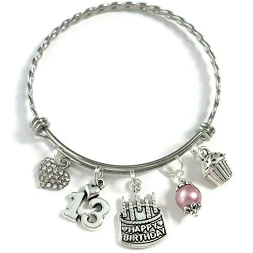 Happy 13th Birthday Heart Charm Bracelet, 13th BIRTHDAY GIRL Bracelet, Teenage Daughter Gift Ideas, Birthday Gifts for Girls, 13 Year Old Teen Girl Birthday