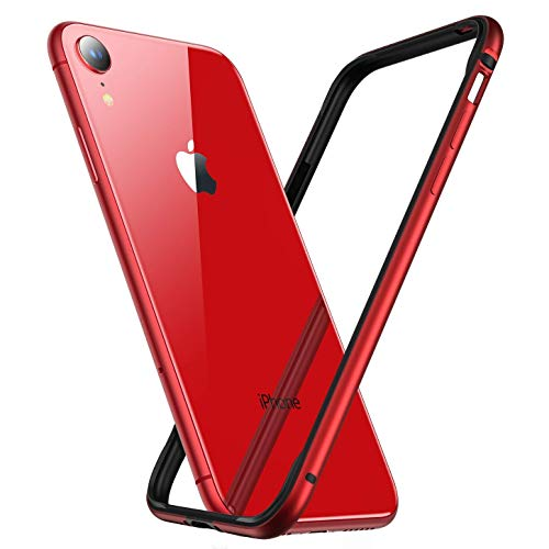Arktis Hülle für iPhone XR, AirZero Alu Bumper Rahmen - Rot kabelloses Laden möglich Aluminium ultradünn federleicht