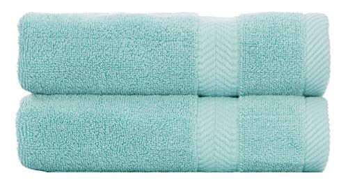 BY LORA Terry Cotton Bath Towel Sheet, Set of 2, Nautical Teal