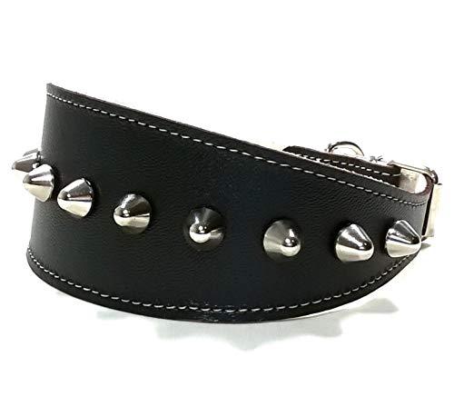 Superpipapo Windhund-Halsband, Handmade Schwarz Breit Leder Halsband Design für Windhund, Galgo, Whippet, Design mit Nieten, Robuste Ausgefallene Qualität, 45 cm: Halsumfang 33-38 cm, Breit 55mm