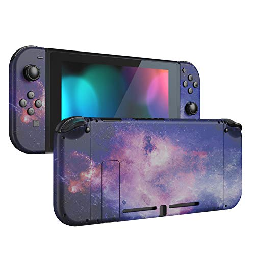 eXtremeRate Back Plate for Nintendo Switch Console, NS Joycon Handheld Controller Housing with Full Set Buttons, DIY Replacement Shell for Nintendo Switch - Nubula Galaxy