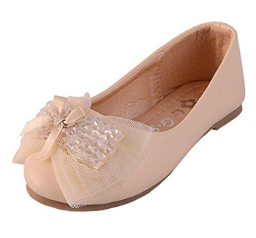Dressy Daisy Girls' Crystal Beads Wedding Flower Ballet Slipper Ballerina Shoes Size US 13 Ivory