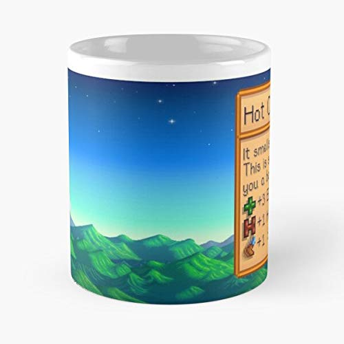GrimDC Chocolate Stardew Hot Cute Valley Taza de café con Leche 11 oz