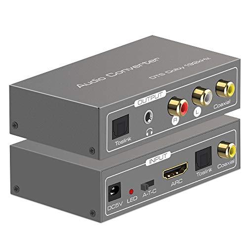 Digital Audio Converter, 192KHz Multifunction HDMI ARC Audio Adapter Digtal to Analoge Audio...