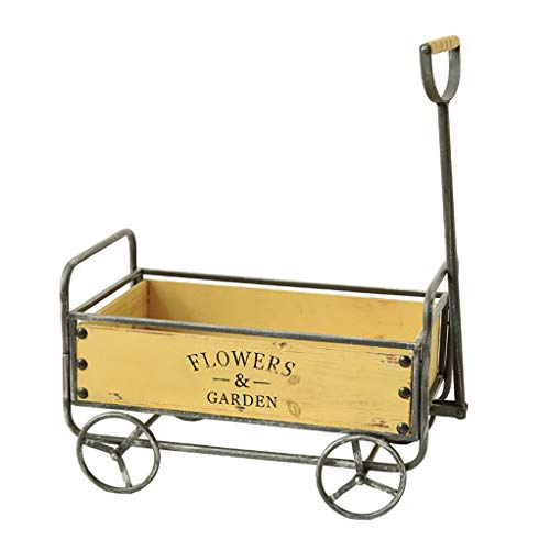 RuBao Plant Pot Wooden Small Cart,Garden Personalized Cart Artificial Flower Stand Decor,Creative Fleshy Trolley Holder Plant Stand Storage and Transportation Tools