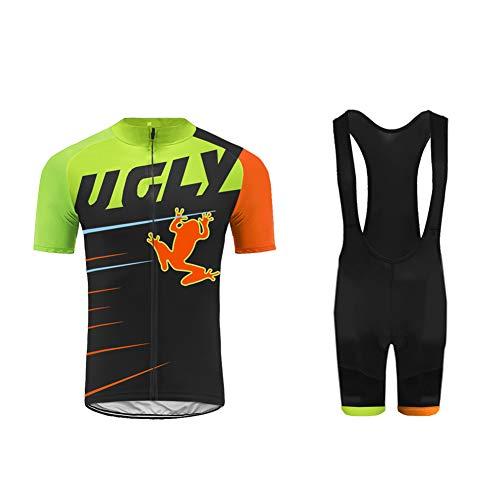 UGLY FROG Abbigliamento da Ciclismo Estivo per Uomo,PRO Team Maglia Bici MTB Estiva + Pantaloni Ciclismo Pad Gel 20D per Uomo