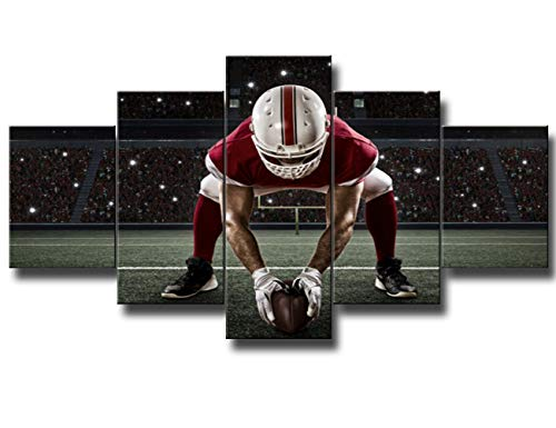 American Football Wall Art - Large 5 Panel Giclee Prints on Canvas Sport Themed Poster Red Uniform NFL Player Standing in Front of the Goal 60''Wx32''H Home Decor Living Room Framed Ready to Hang