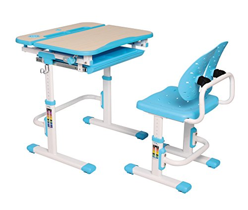 Kids Ergonomic Height Adjustable Study Desk Chair with Wood Grain Surface & Compartment Drawer, Scholar Series, Blue