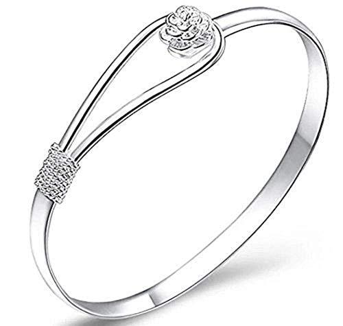 Clarashop Armband Frauen Damen Silber Überzogene Frauen Schmuck 925 Silber Sterling Silber Feste Armband Mode Manschette Armreif Kette Armbänder Schmuck Gadget