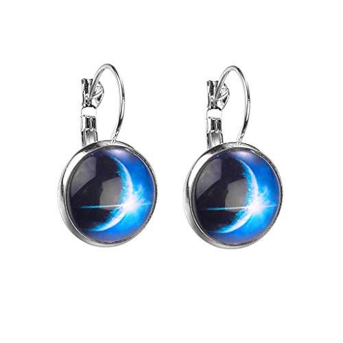 UINGKID Ohrstecker Mode Einfache Stilvolle Attraktive Mode Silber minimalistischen Stil starry Serie Blume Glas Cabochon Ohrringe
