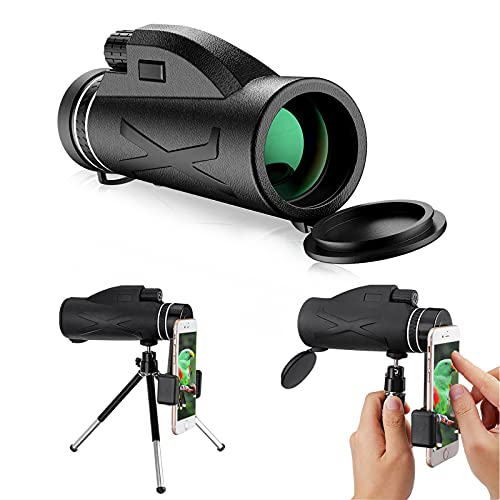 12X50 HD Monocular Telescope, Upgraded Monocular Scope with Smart Phone Holder and Tripod, Waterproof Zoom Single Telescope for Bird Watching, Hiking, Camping, Game Watching, Sightseeing