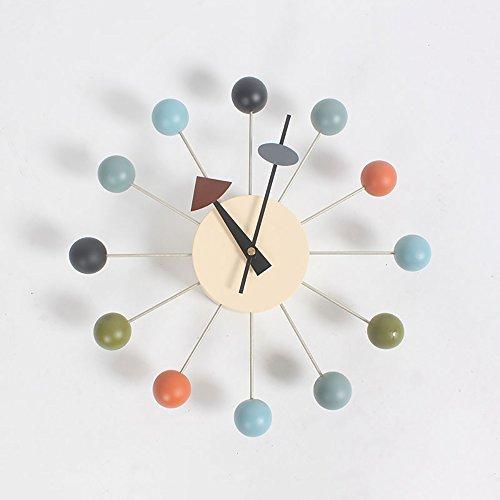 HSRG Houten En Metalen Analoge Beweging Ronde Wandklok Grote Stille Tik Decoratieve Kleurrijke Houten Ballen Pin Wheel Concept