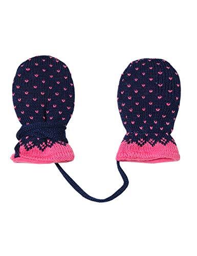 maximo Baby-Mädchen ohne Daumen mit Pünktchenmuster Handschuhe, Mehrfarbig (Pinkmeliert/Navy 4885), One Size (Herstellergröße: 6M)