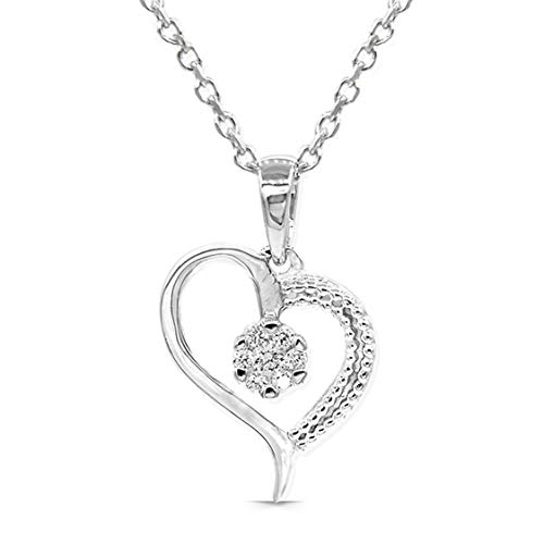 Dove Diamond Pendant Heart 925 Sterling Silver (18K Gold Plated), 0.06Ct Diamond in VS Clarity, EF Color Lab Grown | 50cm Extendable Silver Chain | Certified, Ethical Eco-Friendly Jewellery For Women