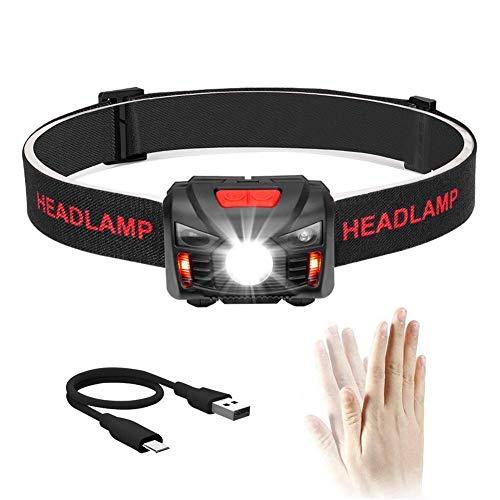 Winzwon USB Wiederaufladbare LED Stirnlampe Kopflampe, Wasserdicht Leichtgewichts Mini stirnlampen Perfekt fürs Laufen, Joggen, Angeln, Campen, für Kinder und mehr