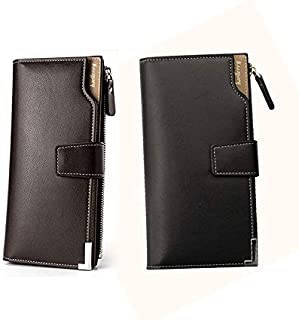 Explopur Men Wallet,Men Long Wallet PU Leather Zipper Male Clutch Interior Pocket Multifunctional Solid Color Fashion Purse