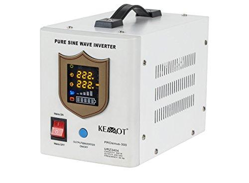 Notstromversorgung KEMOT PROsinus-300 URZ3404 Wechselrichter reiner Sinus Ladefunktion 12V 230V 500VA/300W, weiß