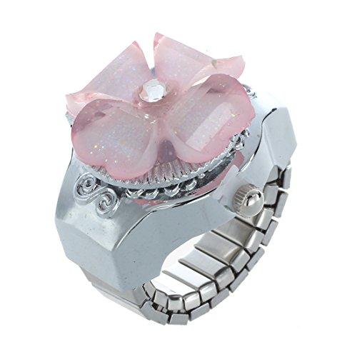 Kaxofang Rosa Plastik Kristall Blumen Kasten runder Vorwahlknopf Fingerring Uhr Fuer Damen