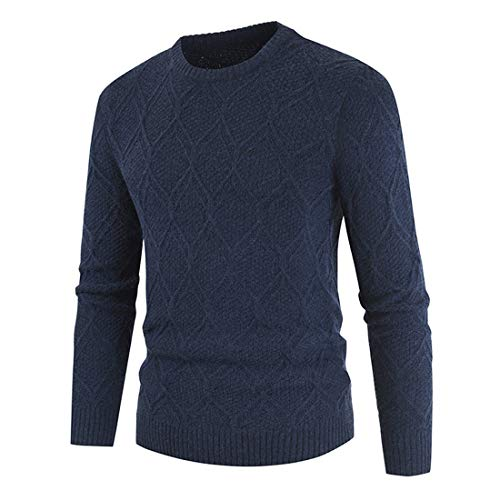 Zytyeu Men Sweater Slim Round Neck Long Sleeve Knitted Top Mesh Pattern Fashion Teen Sweater Lightweight and Breathable Men Sports Sweater Casual Sweaters Spring and Autumn C-Blue 3XL