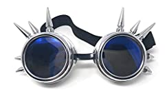 Ultra Silver with Blue Lenses Spike Steampunk Goggles Steam Punk Men Womens Goggles Cyber Punk Pilot Goggles Women Accessories Rave Glasses Welding Goggles Flying Rustic Goggles Steam Punk Goggle #3