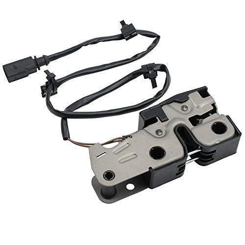 Motorhaubenschloss 12 V Metall Abdeckung oben schwarz Ersatzteilhaube Durable Catch Riegel mit Kabel 2 Pins für VW MK5 Golf V Jetta 04-11 1K1823509E