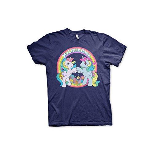 Hasbro Maglietta Uomo con Licenza Ufficiale My Little Pony Best Friends Mezze Maniche (Blu Marino), Medium