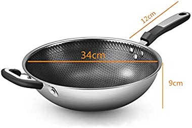 No-Smoke Non-Stick Wok 304 Stainless Steel Wok (34cm Without Cover)