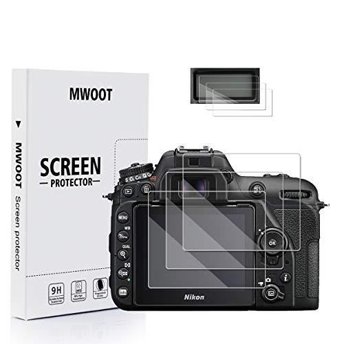 MWOOT 3-Set Pellicole in Vetro Temperato per Nikon D7500 Fotocamera Compatta, Anti Graffi Pellicole Protettive per Protezione dello Schermo Nikon D7500 Digital Camera