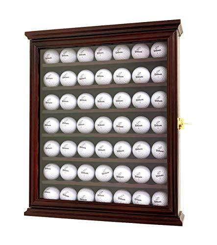 DECOMIL – Golfball Vitrine Schrank Wandhalter Halter UV-Schutz abschließbar, Cherry, 49 Golf Ball