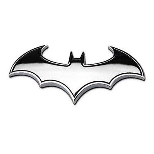 Myhonour Metall Auto Aufkleber 3D Batman Metall Abzeichen Emblem Auto Emblem Aufkleber Badge (Silber)