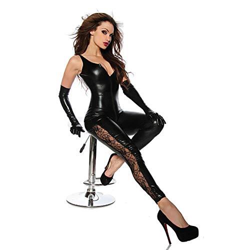 Sexy Doppelreißverschluss Jumpsuit, Nachtclub Club-Anzug, Lederanzug, Bühnenkostüm, Sexy Erotische Dessous, Erotische Unterwäsche, Enthält Keine Handschuhe(Enthält Keine Handschuhe )