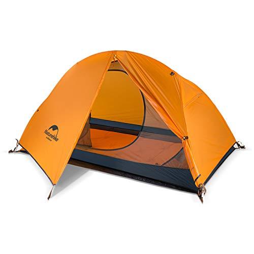 Naturehike Backpacking Zelt Leichtes 1-2 Personen wasserdichtes Anti-UV-Doppelschicht Tragbar für Outdoor-Wanderungen Radfahren Camping, 4 Jahreszeiten, einfache Einrichtung
