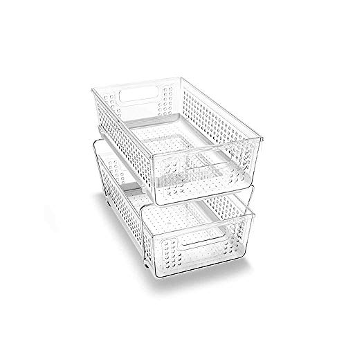 madesmart 2-Tier Organizer without Dividers - BATH COLLECTION Slide-out Baskets with Handles Space Saving Multi-purpose Storage BPA-Free Large Clear