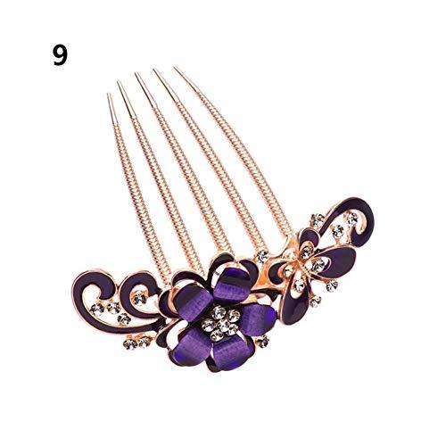 Diadema para novia, peine, elegante, accesorios de joyería para el cabello, con flores, horquilla, pinzas para el cabello para señora, adornos para el cabello (color 9)