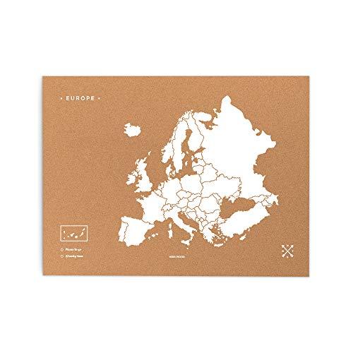 Miss Wood Mapa de Europa de Corcho, Pino, Blanco, L-45x60CM