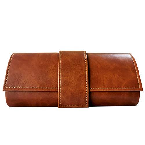 Leather Glasses Case Hard Shell,Eyeglass and Sunglass Case for Women & Men (Brown)