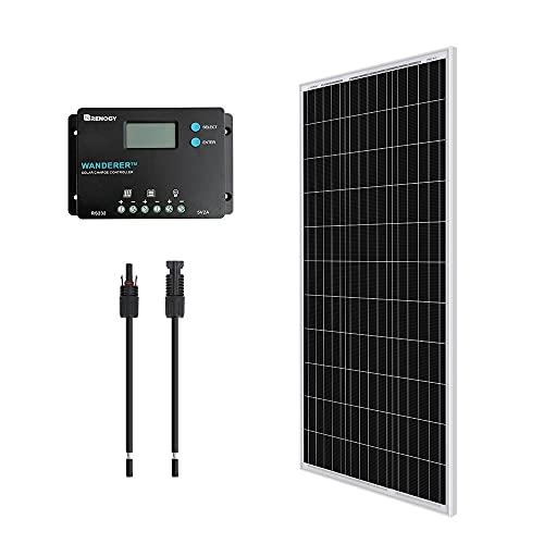 Renogy 12V 100W Monocrystalline Bundle Kit solar panel, Black