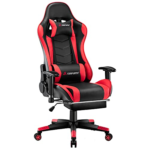 JL Comfurni Gaming Chair Racing Chair Ergonomic Recliner PC Computer Chair High-Back PU Swivel Office Desk Chair with Adjustable Headrest and Lumbar Support Red