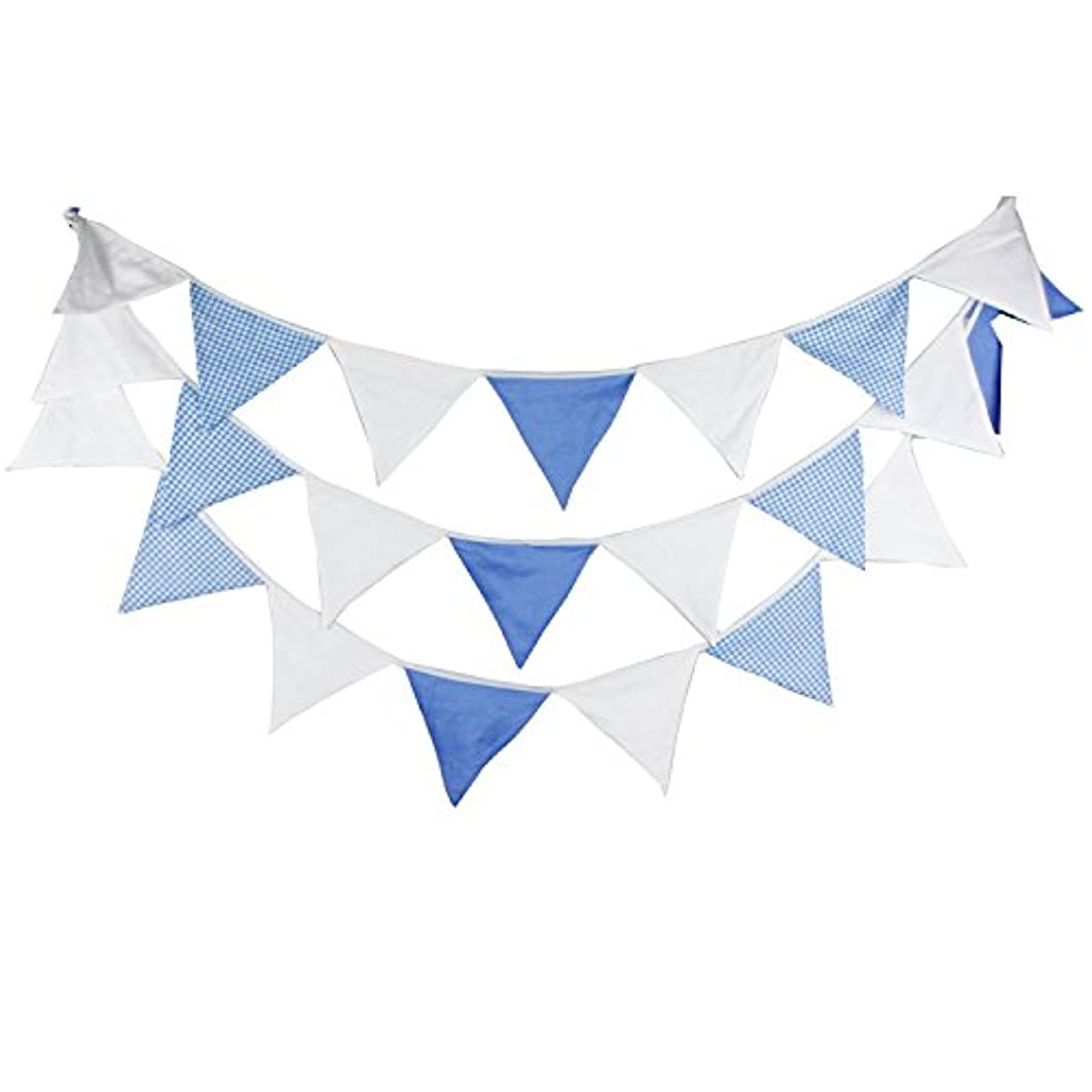 INFEI 5.1M/16.7Ft White Vintage Fabric Flags Bunting Banner Garlands for Wedding, Birthday Party, Outdoor & Home Decoration (Blue)