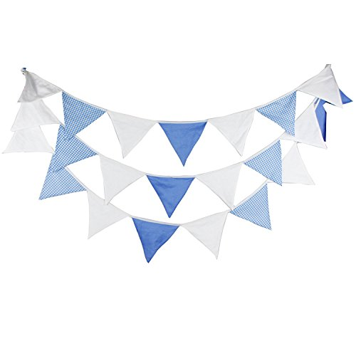INFEI 5.1M/16.7Ft White Vintage Fabric Flags Bunting Banner Garlands for Wedding, Birthday Party, Outdoor & Home Decoration (Blue & White)