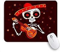 EILANNAマウスパッド 暗い赤ハロウィーン面白い頭蓋骨帽子ギター花印刷 ゲーミング オフィス最適 高級感 おしゃれ 防水 耐久性が良い 滑り止めゴム底 ゲーミングなど適用 用ノートブックコンピュータマウスマット