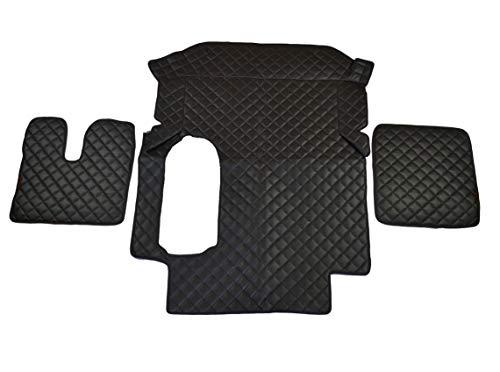 Alfombras de cuero ecológico negro + cubierta del motor para MAN TGA automático de la mano izquierda 3 piezas