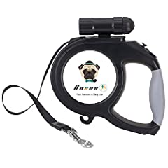 Retractable Leash --- 26ft retractable cord leash provides more extensive freedom for dogs to wander, sniff, and poke around. Dogs could be full controlled and guided when be trained, walked and jogged. Auto-stretch tracking tape could prevent to be ...