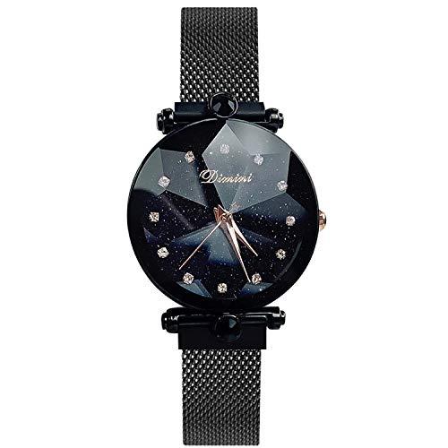RORIOS Mujer Relojes de Pulsera Fashion Cielo Estrellado Simulado Diamante Dial Bracelet Band Relojes de Mujer Ladies Watches