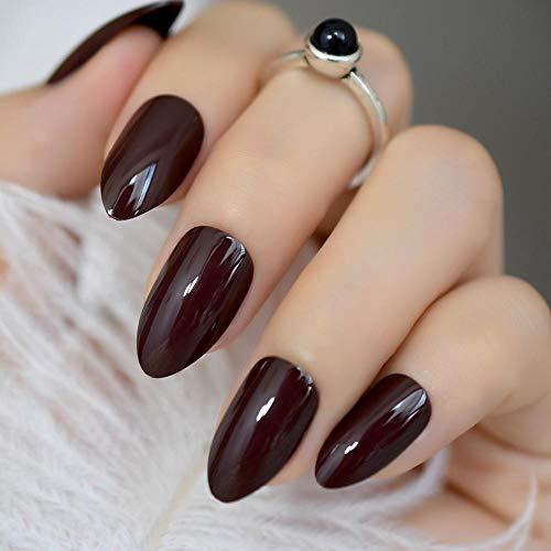 CLOAAE Sweet Deep False Nails Dark Brown Ladies Press On Nail Darker Hour
